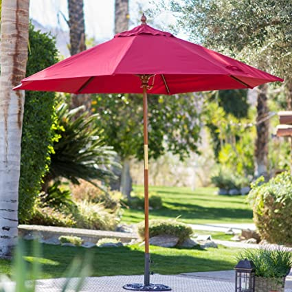 c673ecfcf9c7b Image Unavailable. Image not available for. Color: Belham Living 9 ft. Wood  Commercial-Grade Sunbrella Market Umbrella