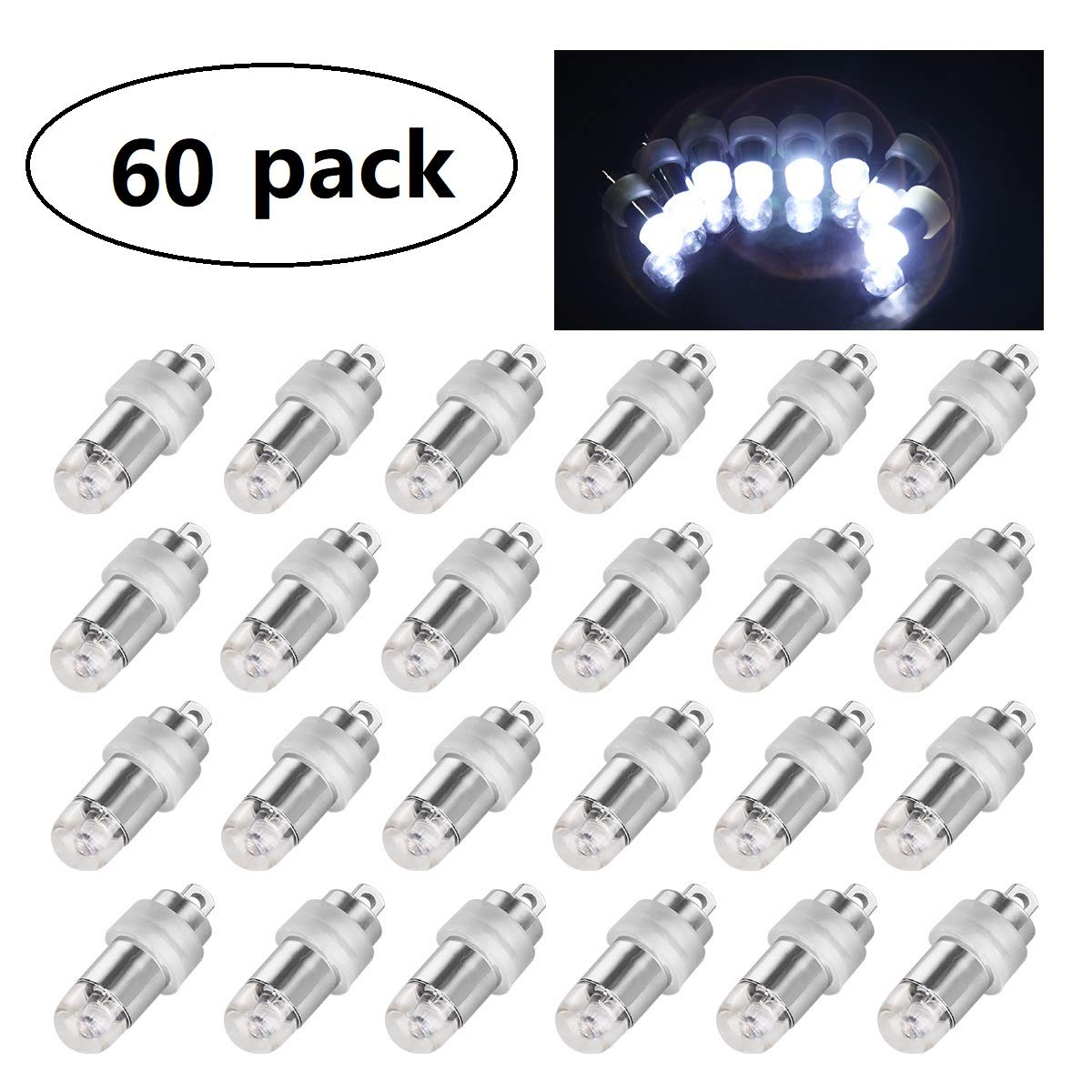60x Cool White Mini LED Party Lights for Balloons Paper Lanterns Floral Party Decoration, Waterproof and Submersible
