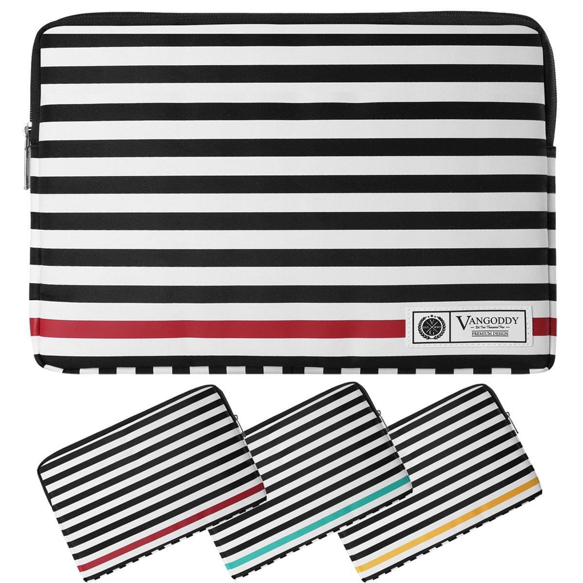 Microsoft Surface Laptop Bag, 13.5'' Vegan Leather Sleeve B/W Stripe Pattern Design Fits Suface Pro 13.5'' Series/Surface Book 13.5'' Series