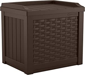 Suncast 22-Gallon Small Deck Box-Lightweight Resin Indoor/Outdoor Storage Container and Seat Cushions and Gardening Tools Store Items on Patio, Garage, Yard, Java