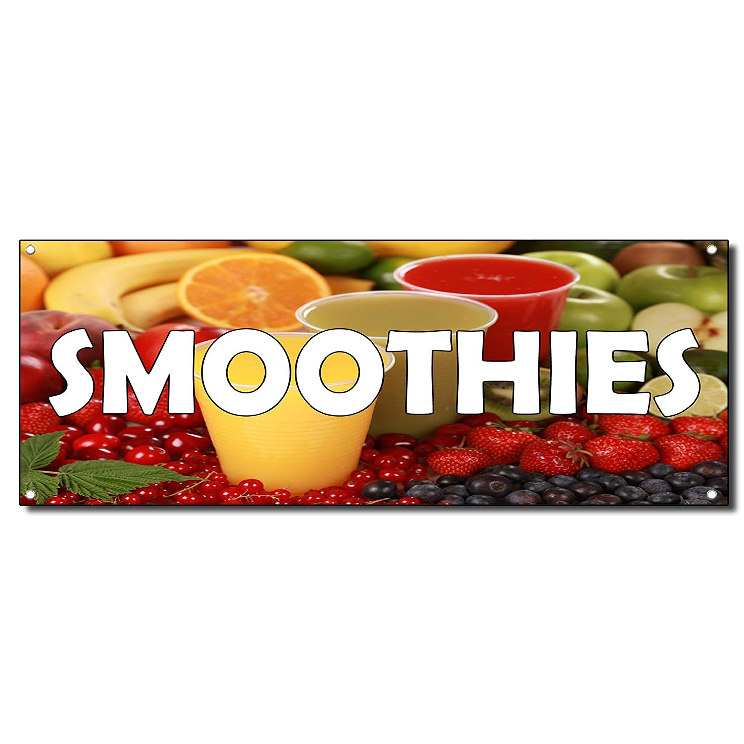 Smoothies with Fruit Images 13 Oz Vinyl Banner Sign 2 Ft X 4 Ft//W 4 Grommets