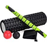 5-In-1 Yoga Large size Foam Roller Kit with Muscle Roller Stick and Massage Balls For Physical Therapy Pain Relief…