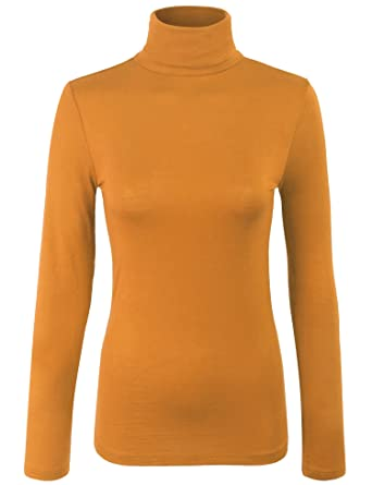 0d6814f9a69a21 KOGMO Womens Turtleneck Long Sleeve Basic Solid Fitted Shirt With  Stretch-S-Mustard