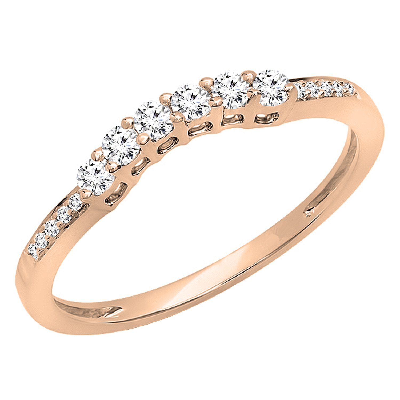 Dazzlingrock Collection 0.24 Carat (ctw) 14K Round Diamond Ladies Wedding Band Guard Ring 1/4 CT, Rose Gold, Size 6