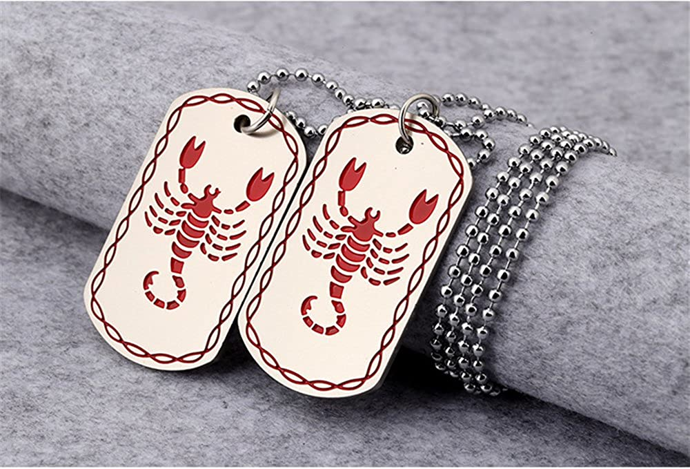 LALOPEZ Mens Womens Army Card Necklace Scorpion Alloy Engraved Dog Tag Hip Hop Pendant Necklace