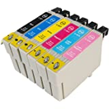 "The Ink Squid 1 Set (6 Cartridges) Compatible Non-oem Ink Cartridges Replaces (T0807) ""Hummingbird"" for Epson Stylus Photo R285 R360 RX560 Printers"