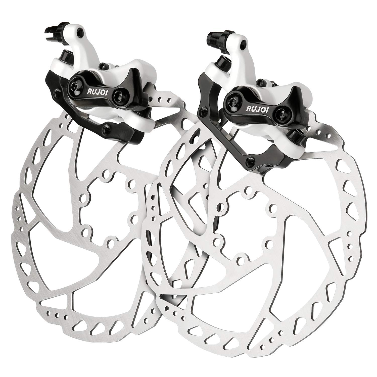 RUJOI Bike Disc Brake Kit, Aluminum Front and Rear Caliper, 160mm Rotor, Mechanic Tool-Free Pad Adjuster for Road Bike, Mountain Bike White (2 Sets) by RUJOI