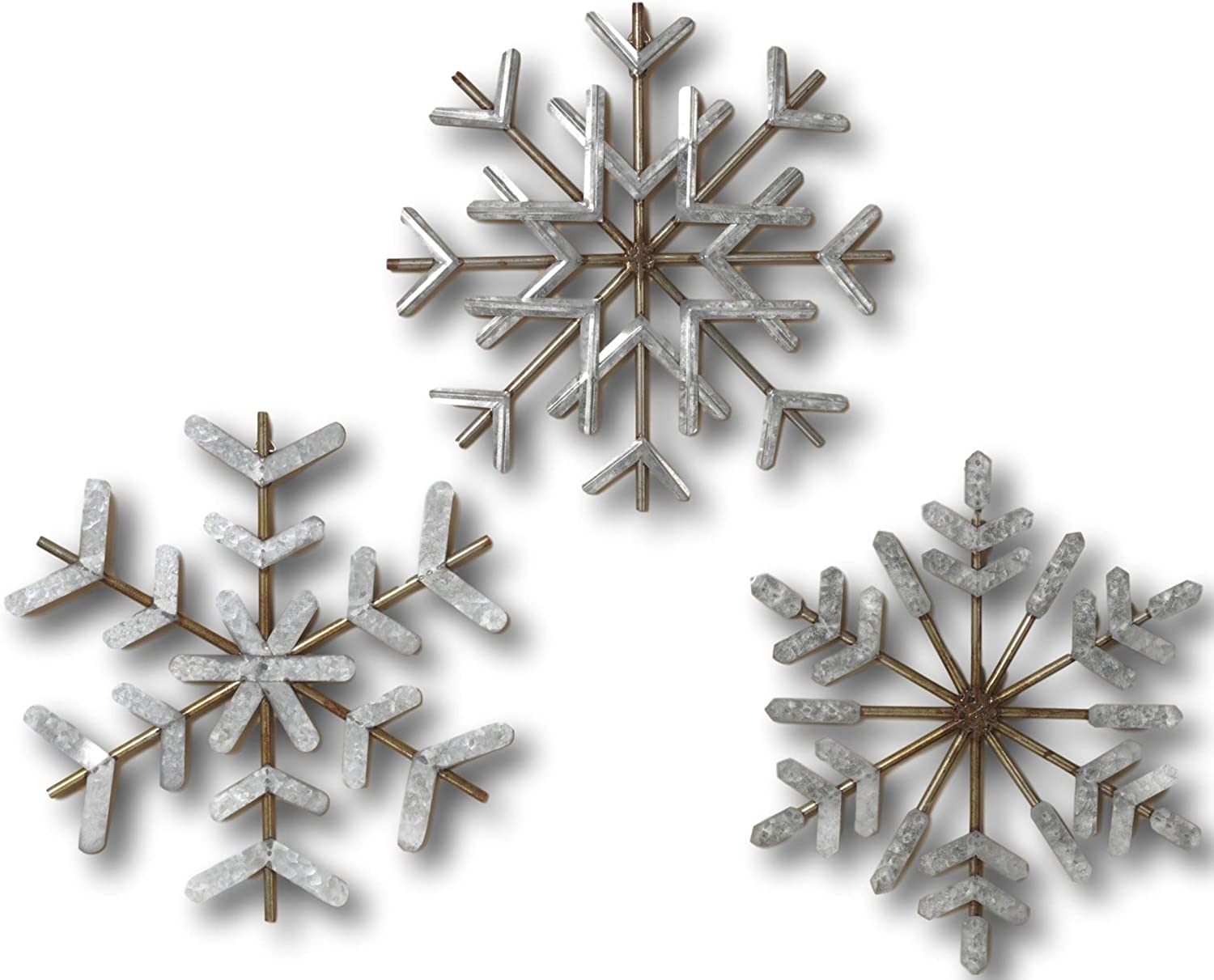 Gerson Set Of 3 Large 15 Galvanized Steel Metal Snowflakes Hanging Wall Decor Jumbo Christmas Ornaments Inside Or Outside Amazon Ca Home Kitchen