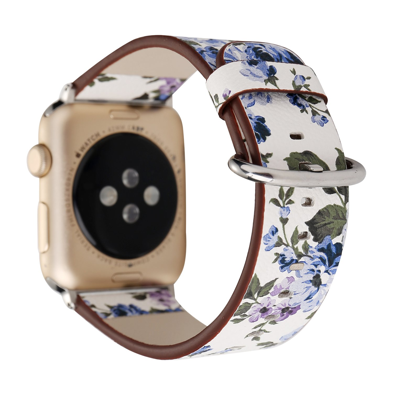 YOSWAN Apple Watch (アップルウォッチ用) フラワーデザイン レザー バンド 38mm/42mm [並行輸入品] (38mm, White+ Blue flower) 38mm|White+ Blue flower White+ Blue flower 38mm B075F6Z6GG