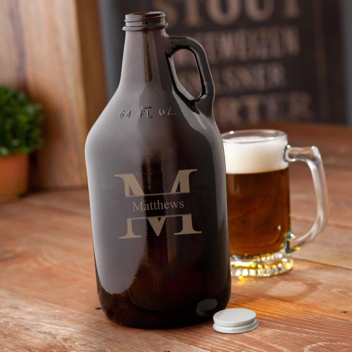 Stamped Monogrammed Amber Beer Growler