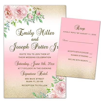 amazon com 100 wedding invitations pink gold white roses floral