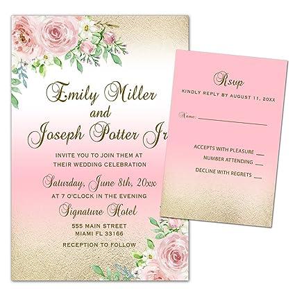 Create Wedding Invitations.Amazon Com 100 Wedding Invitations Pink Gold White Roses Floral