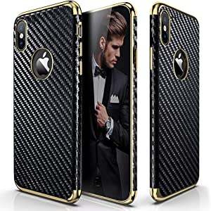 LOHASIC iPhone X Case, iPhone Xs Case (2018) Slim Premium Luxury Leather Vintage Textured Back Cover Soft Flexible Body Non-Slip Shockproof Case Compatible with iPhone X XS 10 - Carbon Fiber