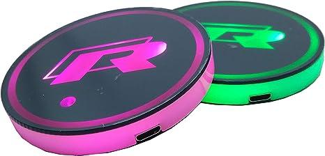 compatibili con R Racing 7 modalit/à di Cambio di Colore Set di 2 sottobicchieri a LED per Auto smd