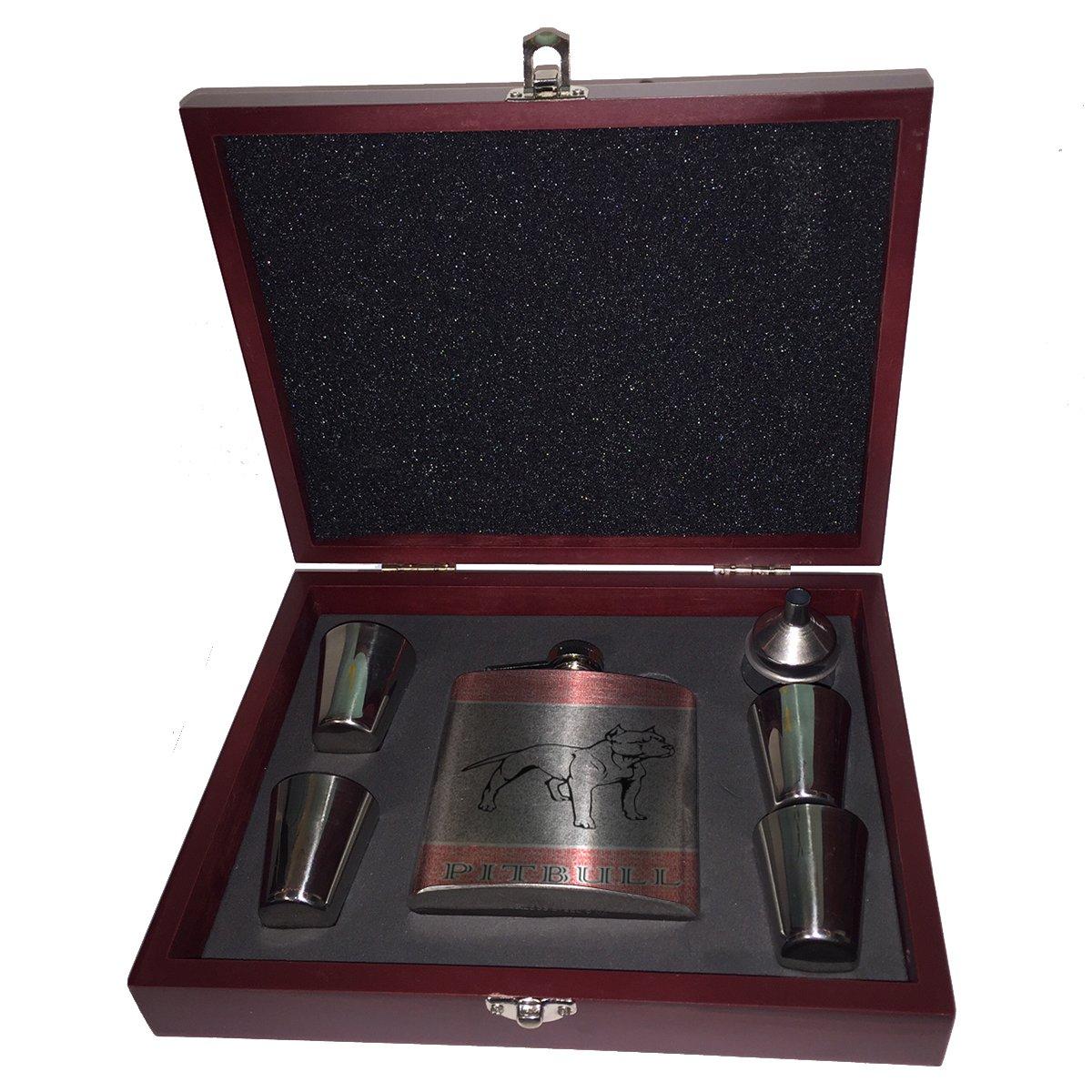 期間限定特別価格 Pitbull – B01JYSPI8W フラスコ木製ボックスギフトセット – Pitbull B01JYSPI8W, ぐりーんぐりーん:f50db49f --- lamisionera.tv