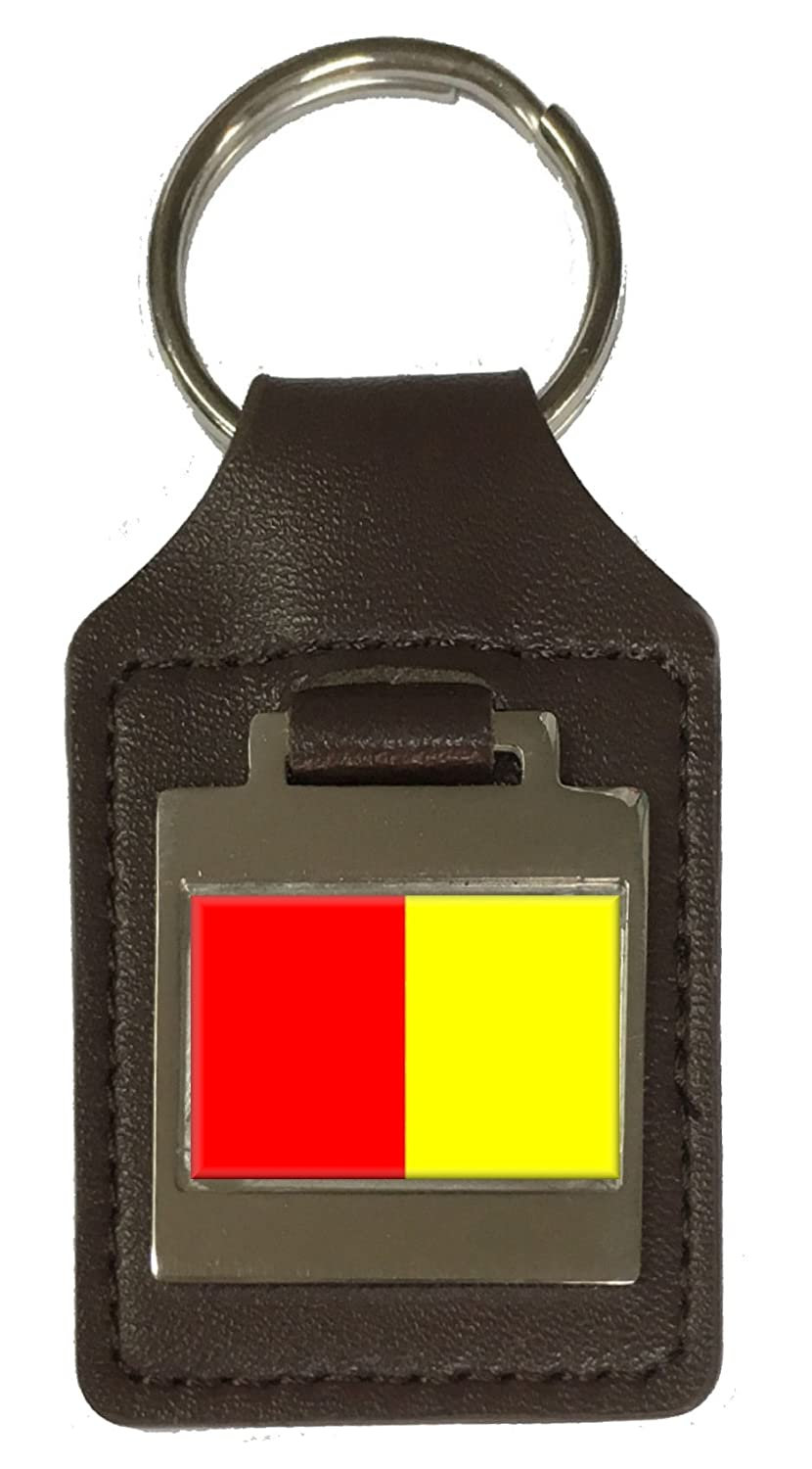 Leather Keyring Engraved Grenoble City France Flag
