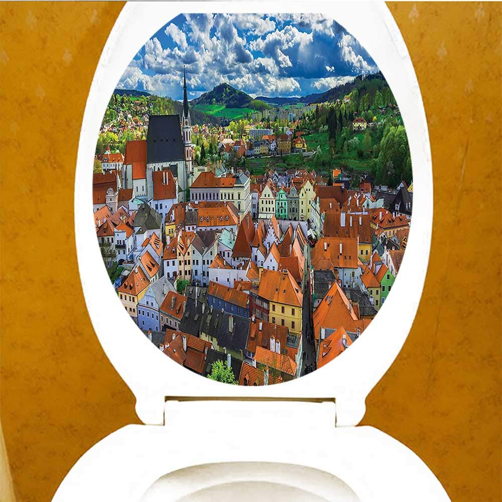 Printsonne Toilet Seat Sticker Budapest Hungary Exterior Europe Dome Architecture River Landmark Waterproof Decorative Toilet Cover Stickers W13 x L13