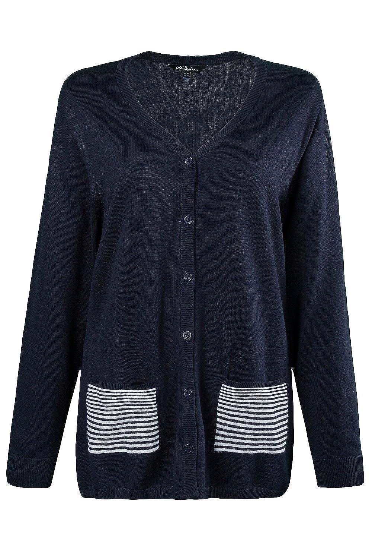 Ulla Popken Women's Plus Size Stripe Pocket Cardigan Sweater 703582