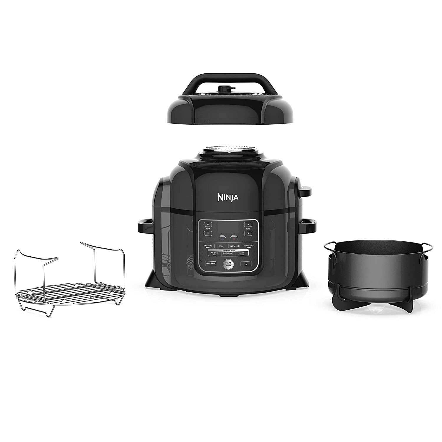 Ninja Foodi 1400-Watt Multi Pressure Cooker, Steamer & Air Fryer w/TenderCrisp Technology Pressure & Crisping Lid 6.5 quart Black/Gray (Renewed)