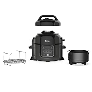 Ninja Foodi 1400-Watt Multi Pressure Cooker, Steamer & Air Fryer w/TenderCrisp Technology Pressure & Crisping Lid 6.5 quart Black/Gray (Renewed)