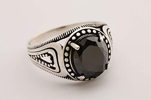 Black Stone Ring Onyx Men/'s Eagle Motif 925 Sterling Silver Ring Gift for him Handmade Ottoman Style Silver Ring