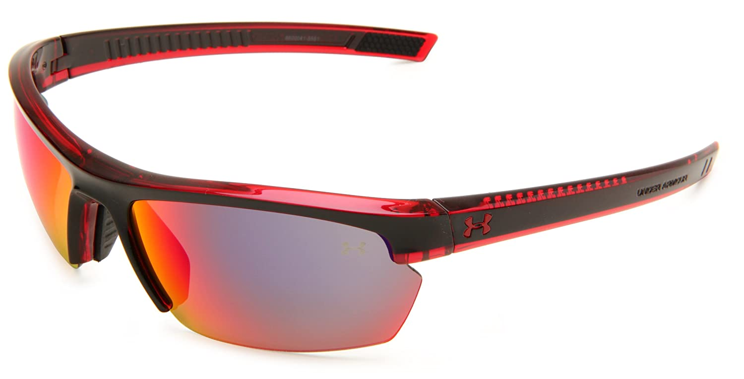 0629bd6aba66 Top11: Under Armour Under Armour Stride XL Rectangle Sunglasses, Crystal  Red Frame Black Front spray Mask Frame/Gray & Infrared Multiflection Lens,  One Size