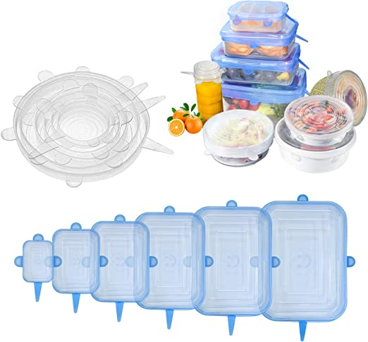 6PCS Stretch Reusable Silicone Bowl Wraps Food Saver Cover Seal Insta Lids RW