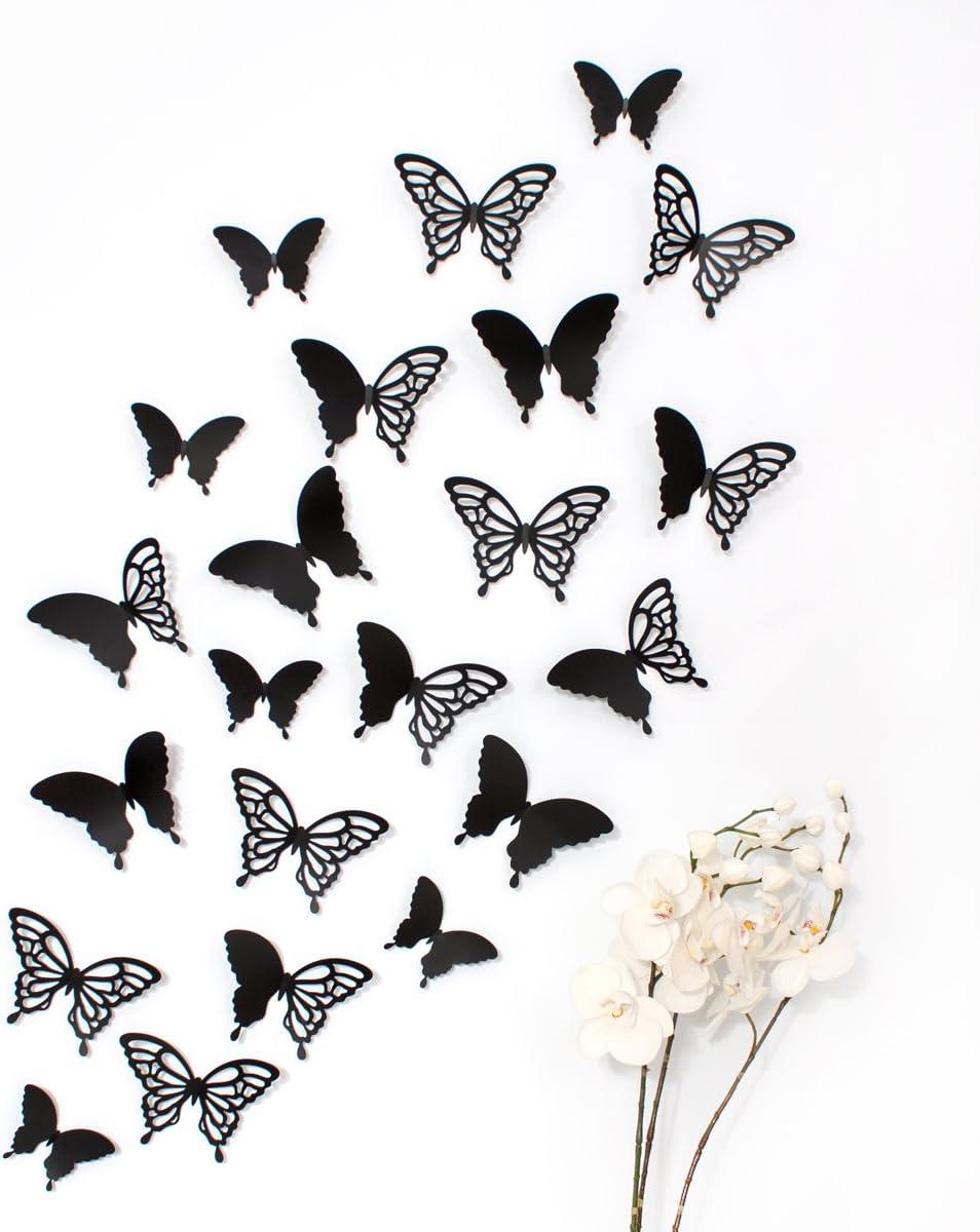 Wandkings 3D Mariposas en Negro con Adornos./12 Unidades, diseño ...