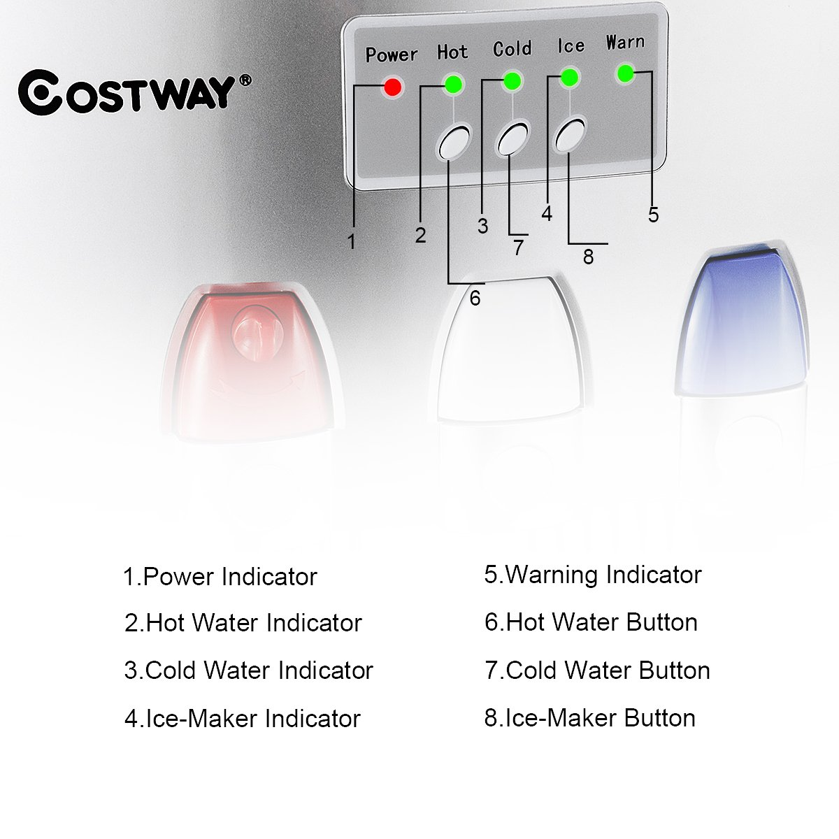 Costway 2-in-1 Water Cooler Dispenser with Built-in Ice Maker Freestanding Hot Cold Top Loading Water Dispenser 27LB/24H Ice Machine with Child Safety Lock, Silver by COSTWAY (Image #4)
