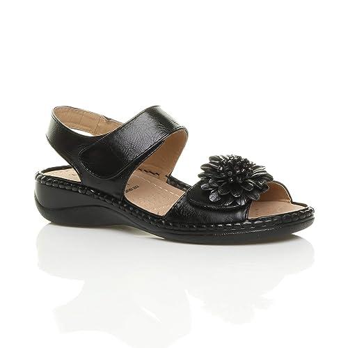 Donna tacco medio zeppa fiore comode per camminare casual sandali numero