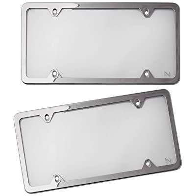 NYLATA License Plate Frames with Cover - Pack of 2 Stainless Steel Frames and 2 Clear Plastic Covers - Slick Design - Total Protection Against Theft and the Elements - Comes in Our Well-known Gift Box: Automotive