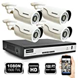 ISEEUSEE 4Channel 1080N HD DVR Video Recording System HDMI Output 4x 1500TVL Outdoor Night Vision Cameras and Free Pro APP Home Security Surveillance Kits No Hard Drive Preinstalled