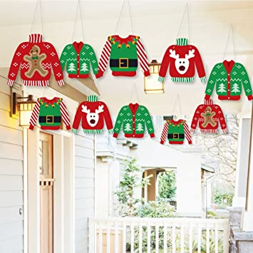 Christmas Party Decorations.Hanging Ugly Sweater Outdoor Hanging Decor Holiday Christmas Party Decorations 10 Pieces