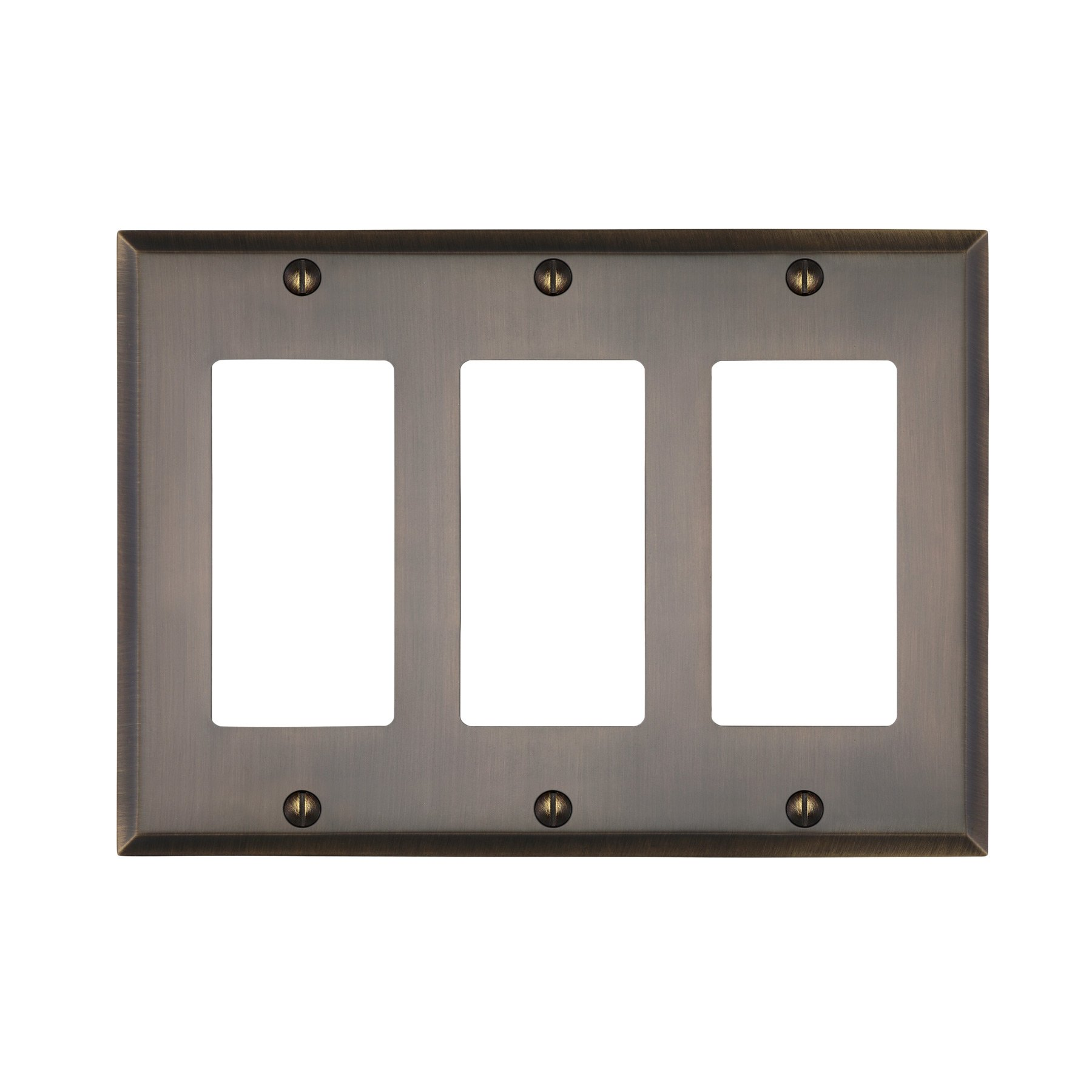 MAYKKE Graham Triple Rocker Light Switch Cover Premium Solid Brass 3 Gang Wall Plate 5 Color Finishes to Choose from, Antique Brass, ALA1020305