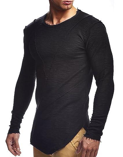 845a79dda56 XARAZA Men s Crew Neck Long Sleeve Longline T-Shirt Undershirt Curved Hem ( Black