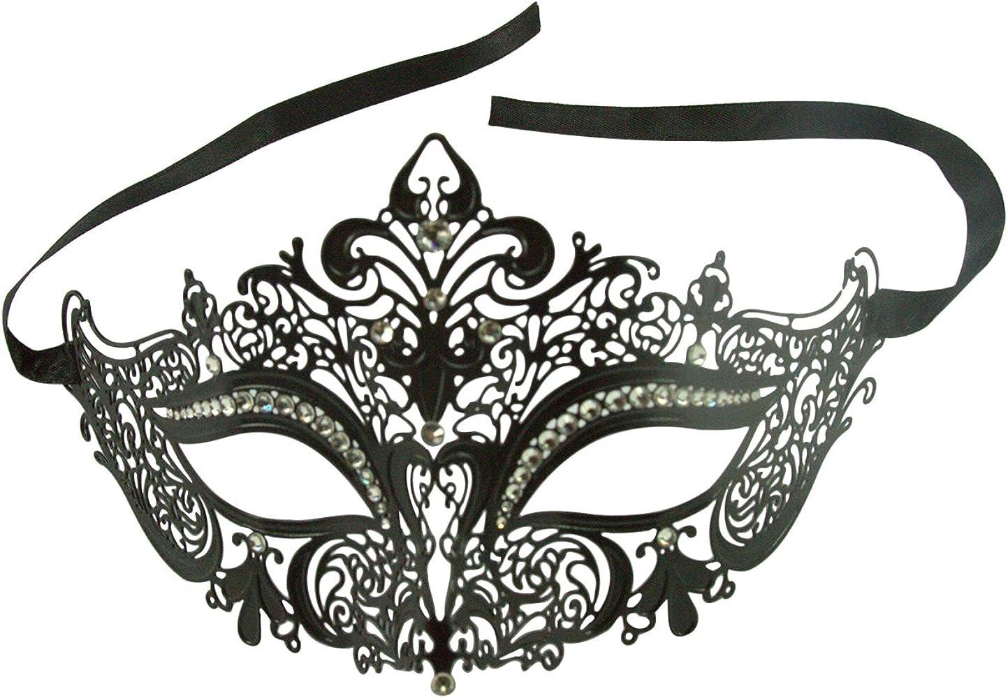 Luxury Simple Mask Venetian Metal Filigree Masquerade Mask Diamante Crystal