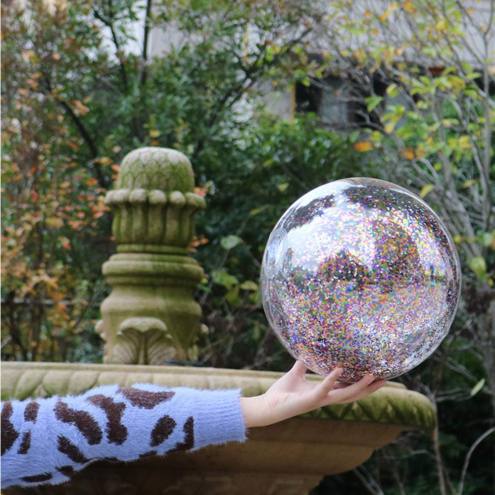 Hosfairy 14 Inch Kids Transparent Sequin Inflatable Beach Ball Summer Funny Play Beach Ball Pool Ball Party Favor Ball