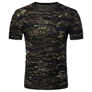 89e3c58a Toamen Men's Super Premium Short Sleeve T-Shirt, Mens Valueweight Crew Neck  Camouflage Print