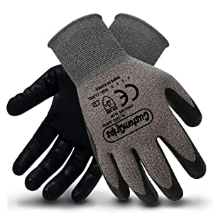 CustomGrips Cut Resistant Work Gloves. Span-Nylon Liner, Level 4 Abrasion Resistance, Nitrile Foam Palm Coated for Utility Grade. Superior Grip Power on Oily & Wet Environment. [XX-Large, 6 Pairs]