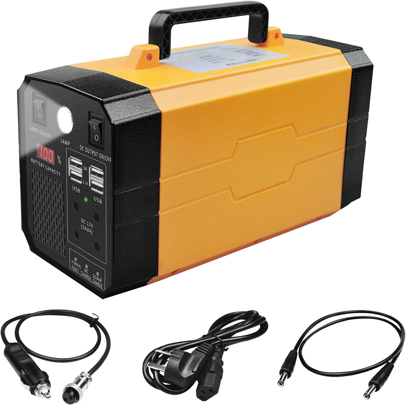 Portable Rechargeable Generator 500W 288WH UPS Battery Backup, Power Source with AC Inverter, USB, DC 12V Outputs for Outdoors Laptop Home Camping, Charged by Solar/AC Outlet/Car