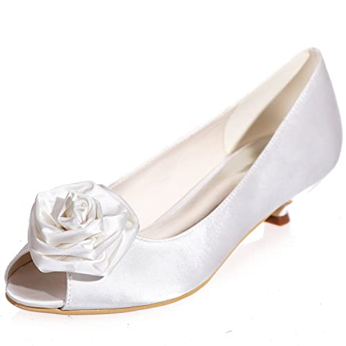 08eba5e61a6b Clearbridal Women s Satin Low Heel Open Peep Toe Wedge Heel Wedding Bridal  Court Shoes with Hand Made Flower ZXF0700-15  Amazon.co.uk  Shoes   Bags