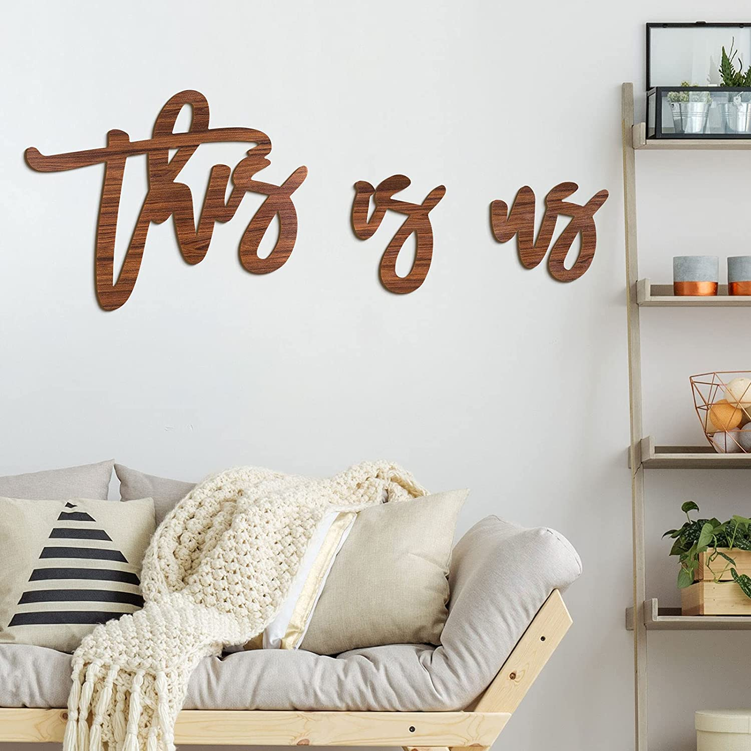 This is Us Wood Cutout Words This is Us Laser Cut Sign This is Us Wood Letter Words Wall Sign Rustic Farmhouse Wood Sign Wall Decor for Family Bedroom, Living Room, Home Decor (Brown)