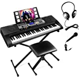 61 Touch Sensitive Keys Portable Electronic Keyboard Piano For Beginner, Music Keyboard kit with Headphones, Microphone, Pian