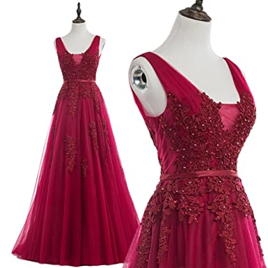 JoyVany Shoulder Straps Beaded Applique Tulle Long Formal Dress Evening Dresses Burgundy Size 2