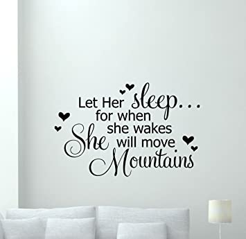 Amazon.com: Girls Quotes Wall Decal Let Her Sleep Lettering Vinyl ...