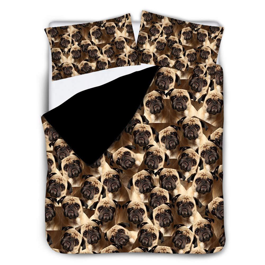 Twin, Beige UNICEU 3 Pieces Hidden Zipper Closure Bedding Set Brown Pug Duvet Cover Ultra Soft Quilt Coverlet Xmas Bedspread Pillowcase