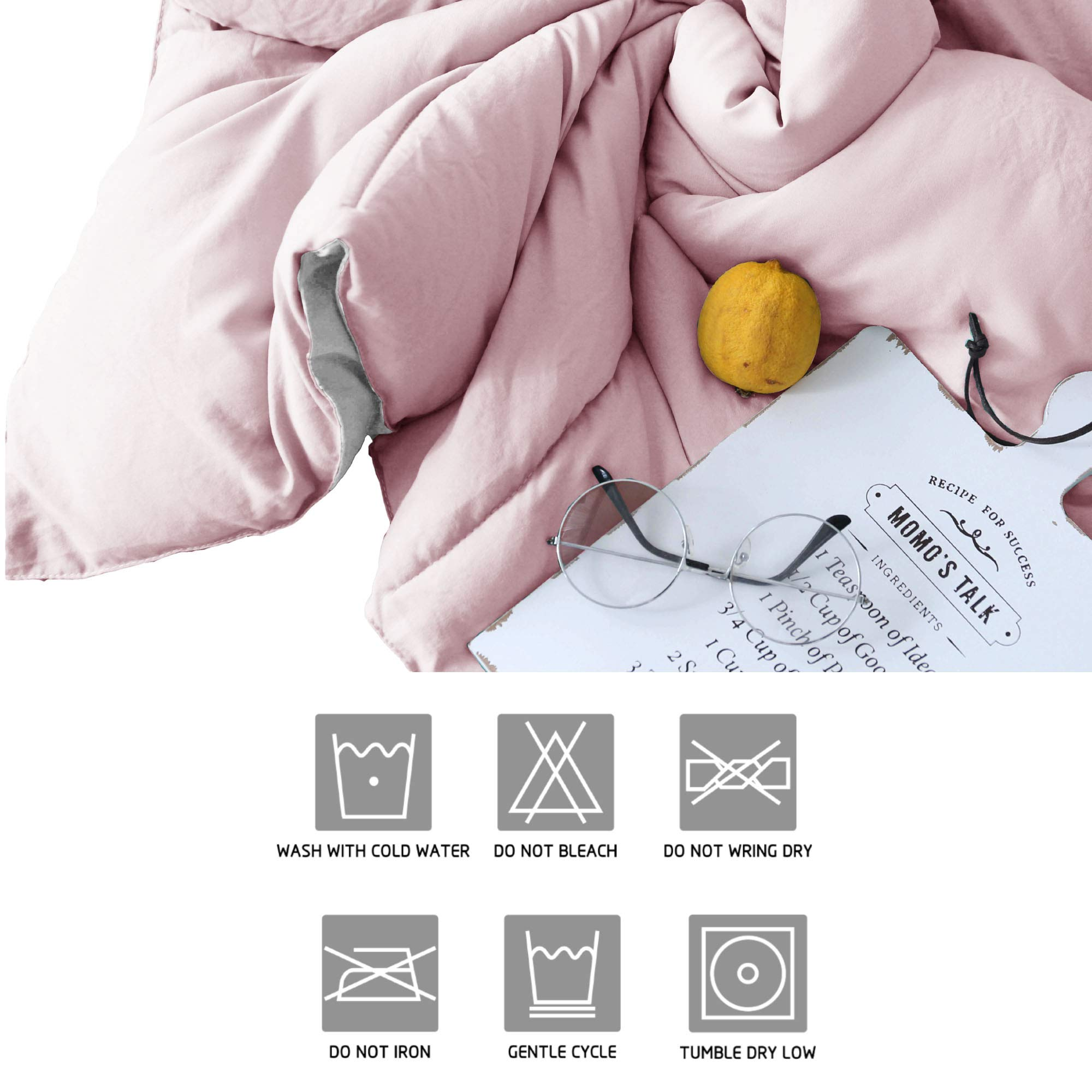 KASENTEX All All Season Down Down Alternative Quilted Comforter Set with Sham(s) - Reversible Ultra Soft Duvet Insert Hypoallergenic Machine Washable, Pink Potpourri/Quartz Silver by KASENTEX (Image #8)