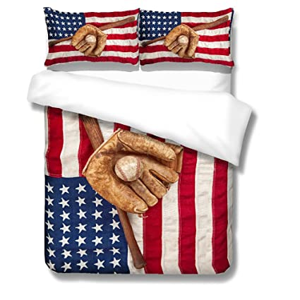 BOMCOM 3D Digital Printing Vintage Baseball Bat Glove Ball on a Vintage American  Flag 3- 9dec3c03726