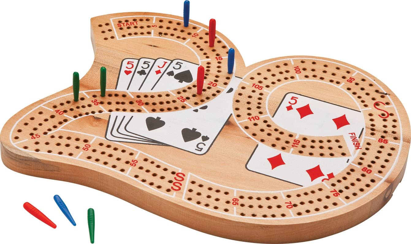 Classics Traditional Wooden Cribbage Board Game Set 3 Person Game Fun Home