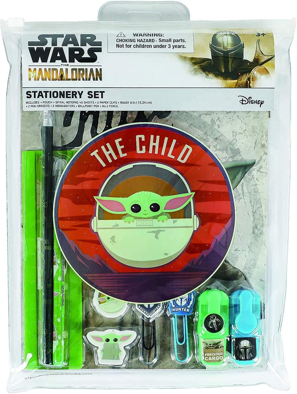 Innovative Designs Baby Yoda Star Wars The Mandalorian Office + School Supplies Set in Resealable Pouch